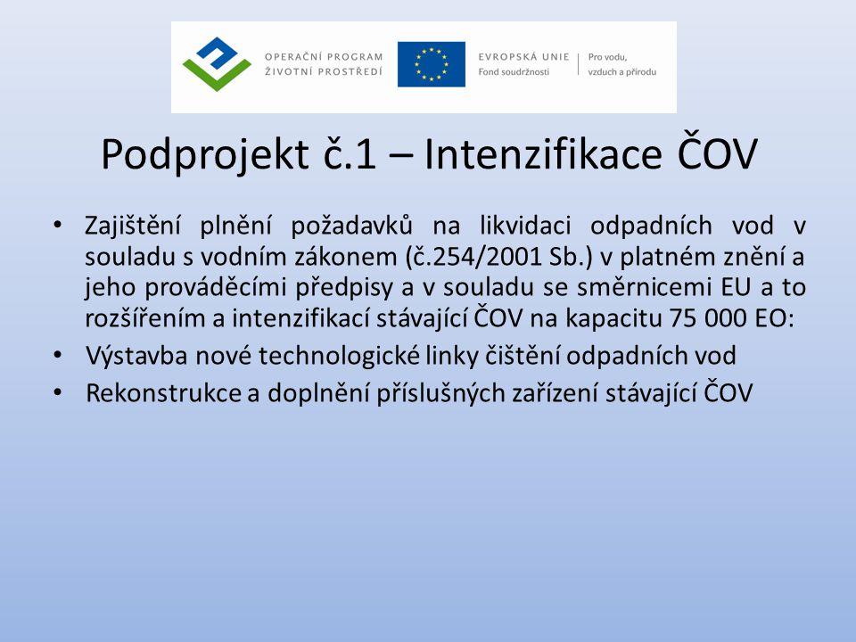 Podprojekt č.1 – Intenzifikace ČOV • Zajištění plnění požadavků na likvidaci odpadních vod v souladu s vodním zákonem (č.254/2001 Sb.) v platném znění