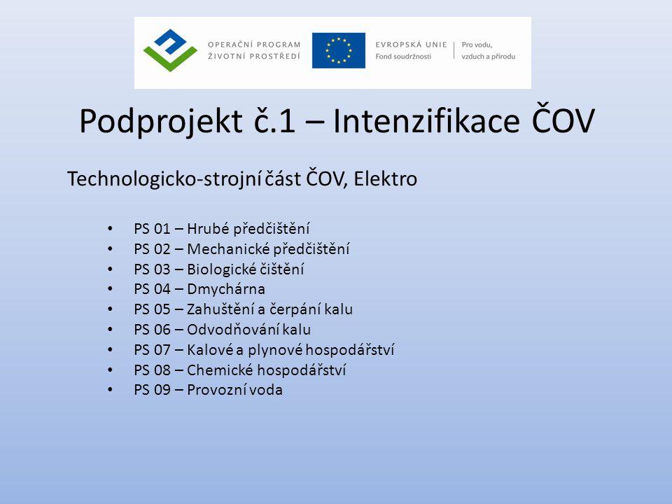Podprojekt č.1 – Intenzifikace ČOV Technologicko-strojní část ČOV, Elektro • PS 01 – Hrubé předčištění • PS 02 – Mechanické předčištění • PS 03 – Biol