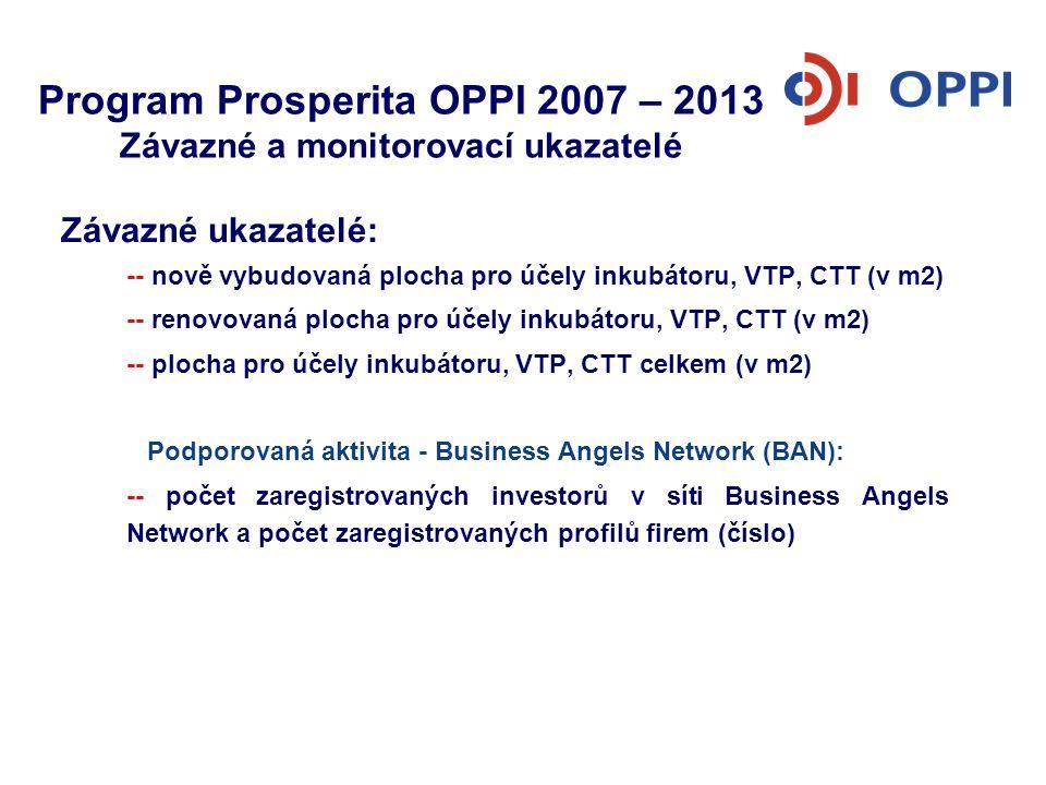 Program Prosperita OPPI 2007 – 2013 Závazné a monitorovací ukazatelé Závazné ukazatelé: -- nově vybudovaná plocha pro účely inkubátoru, VTP, CTT (v m2
