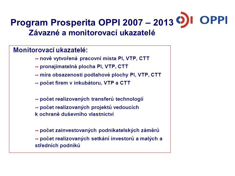 Program Prosperita OPPI 2007 – 2013 Závazné a monitorovací ukazatelé Monitorovací ukazatelé: -- nově vytvořená pracovní místa PI, VTP, CTT -- pronajím