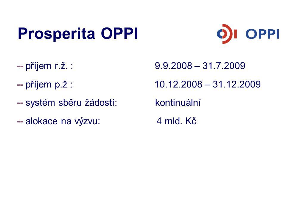 Prosperita OPPI -- příjem r.ž. : 9.9.2008 – 31.7.2009 -- příjem p.ž : 10.12.2008 – 31.12.2009 -- systém sběru žádostí: kontinuální -- alokace na výzvu