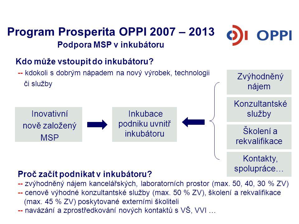 Program Prosperita OPPI 2007 – 2013 Podpora MSP v inkubátoru Proč začít podnikat v inkubátoru? -- zvýhodněný nájem kancelářských, laboratorních prosto