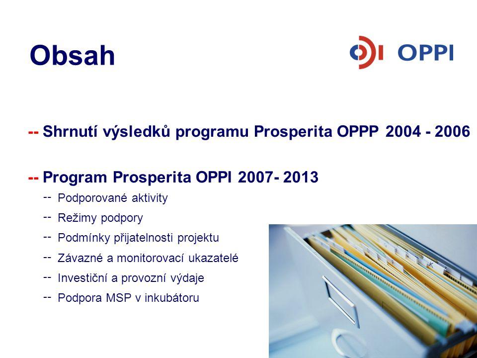 Program Prosperita Zhodnocení programu Prosperita OPPP 2004 – 2006 Cíl programu: -- infrastruktura pro posilování vazeb výzkumu na průmysl -- technologický rozvoj a inovace -- zakládání podnikatelských inkubátorů, vědeckotechnických parků a center pro transfer technologií -- 69 předložených projektů -- 32 projektů podpořeno -- celková dotace 1,6 mld.Kč