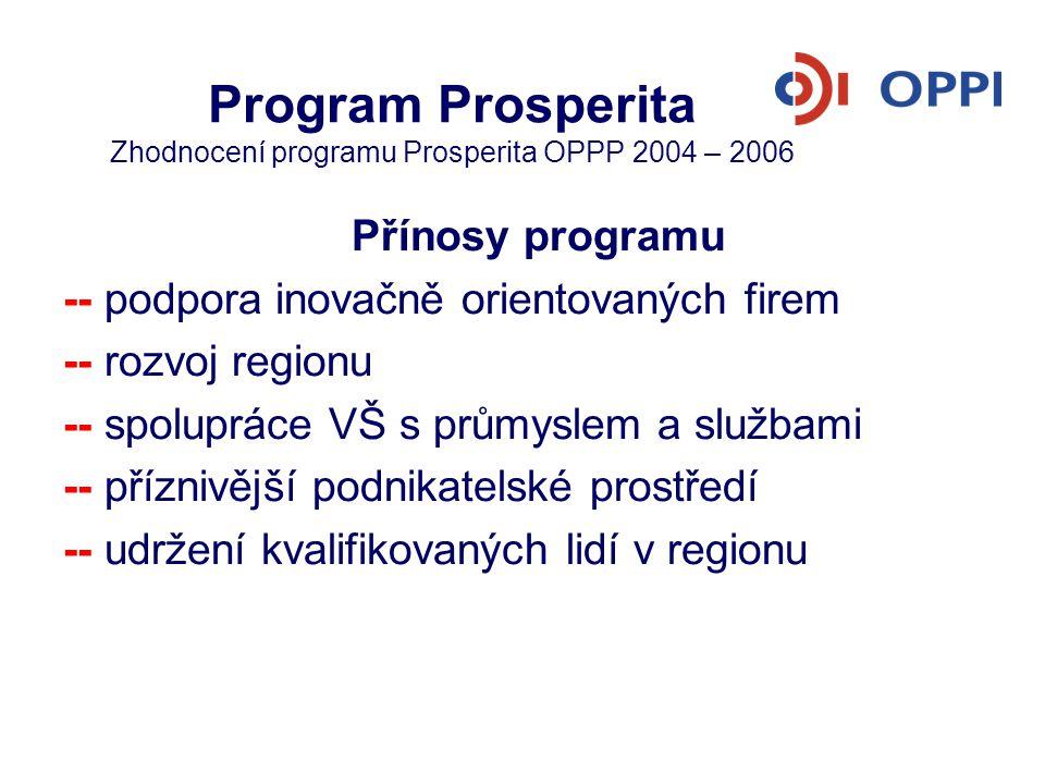 Program Prosperita Zhodnocení programu Prosperita OPPP 2004 – 2006 Přínosy programu -- podpora inovačně orientovaných firem -- rozvoj regionu -- spolu