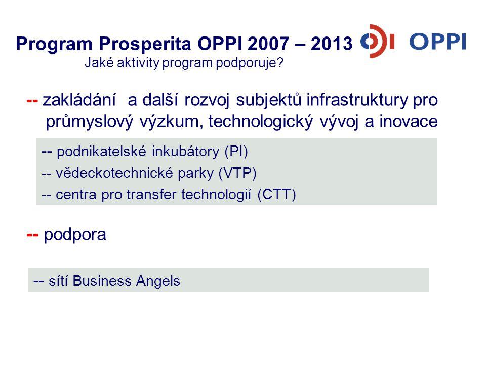 Program Prosperita OPPI 2007 – 2013 Jaké aktivity program podporuje? -- zakládání a další rozvoj subjektů infrastruktury pro průmyslový výzkum, techno