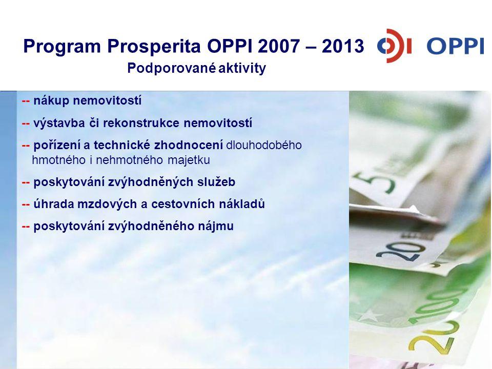 Program Prosperita OPPI 2007 – 2013 Podporované aktivity • Nákup nemovitostí pro související dopravní a technickou infrastrukturu • Výstavba či rekons
