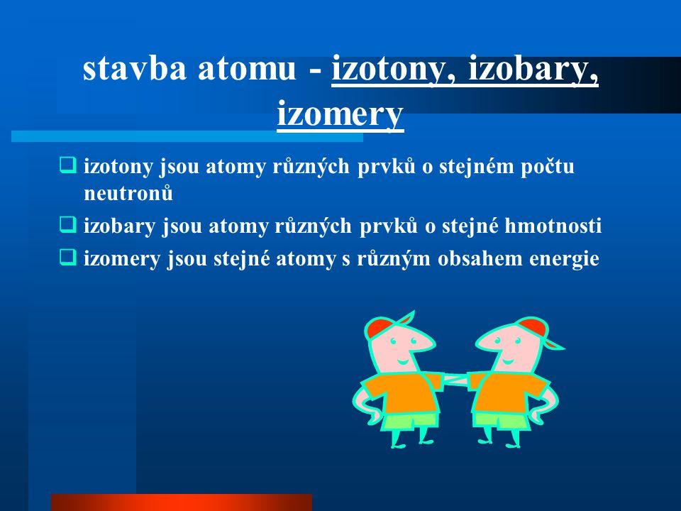 stavba atomu - izotony, izobary, izomery  izotony jsou atomy různých prvků o stejném počtu neutronů  izobary jsou atomy různých prvků o stejné hmotn