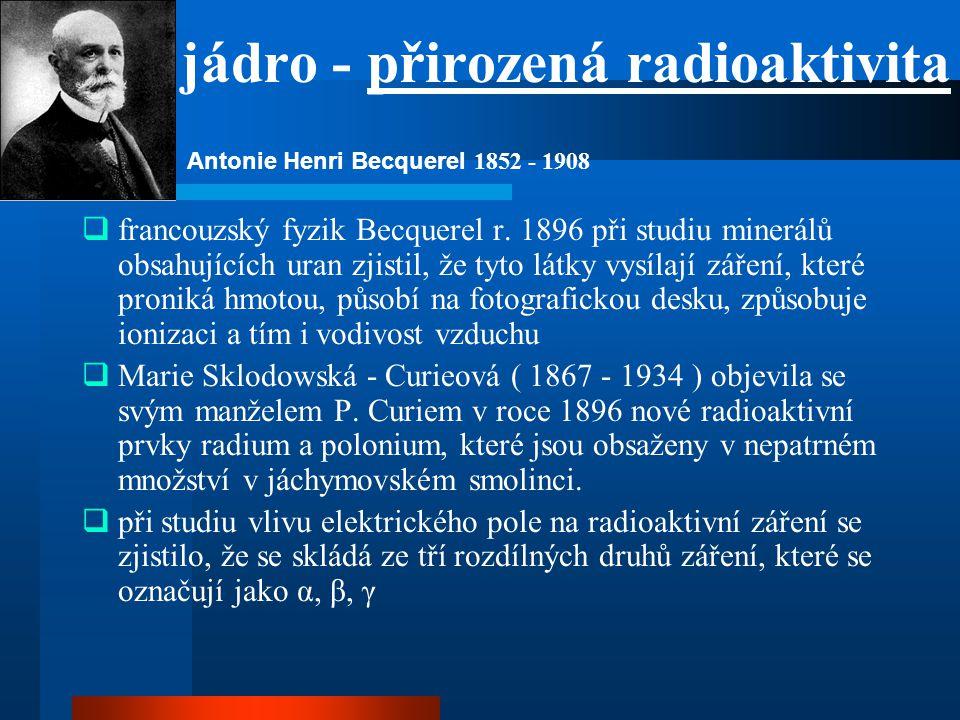 jádro - přirozená radioaktivita  francouzský fyzik Becquerel r. 1896 při studiu minerálů obsahujících uran zjistil, že tyto látky vysílají záření, kt