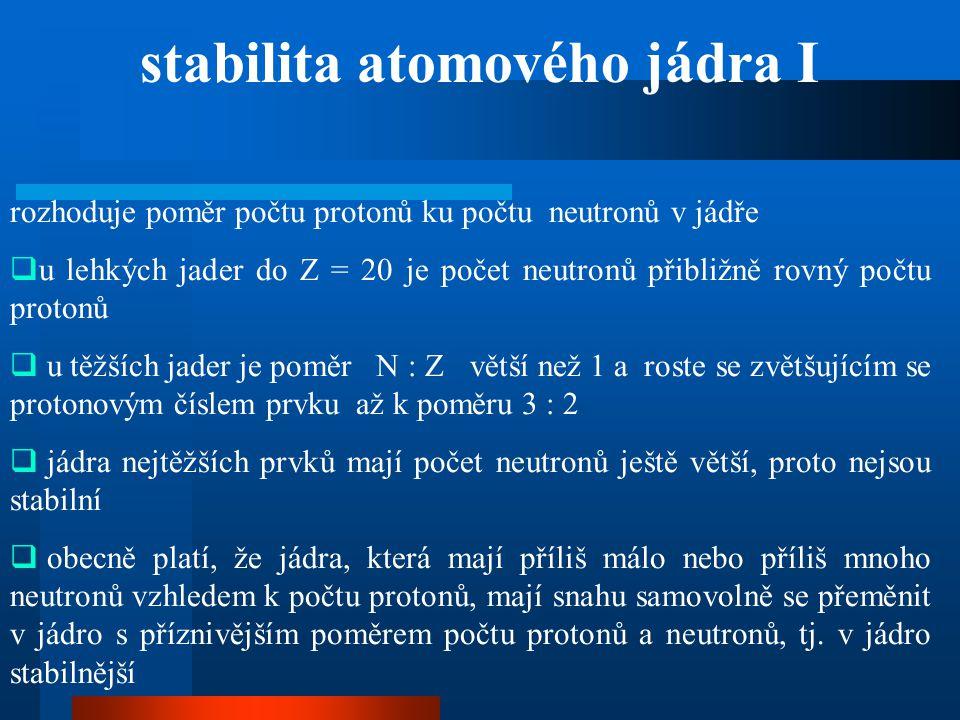 rozhoduje poměr počtu protonů ku počtu neutronů v jádře  u lehkých jader do Z = 20 je počet neutronů přibližně rovný počtu protonů  u těžších jader