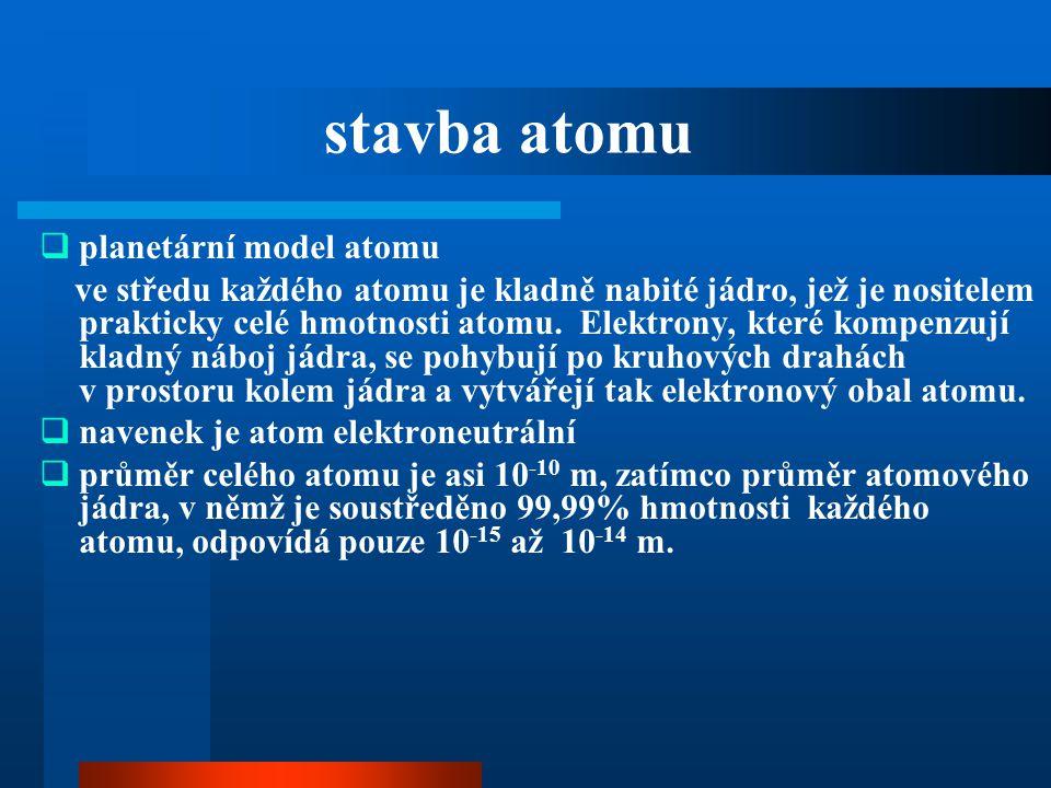  planetární model atomu ve středu každého atomu je kladně nabité jádro, jež je nositelem prakticky celé hmotnosti atomu. Elektrony, které kompenzují