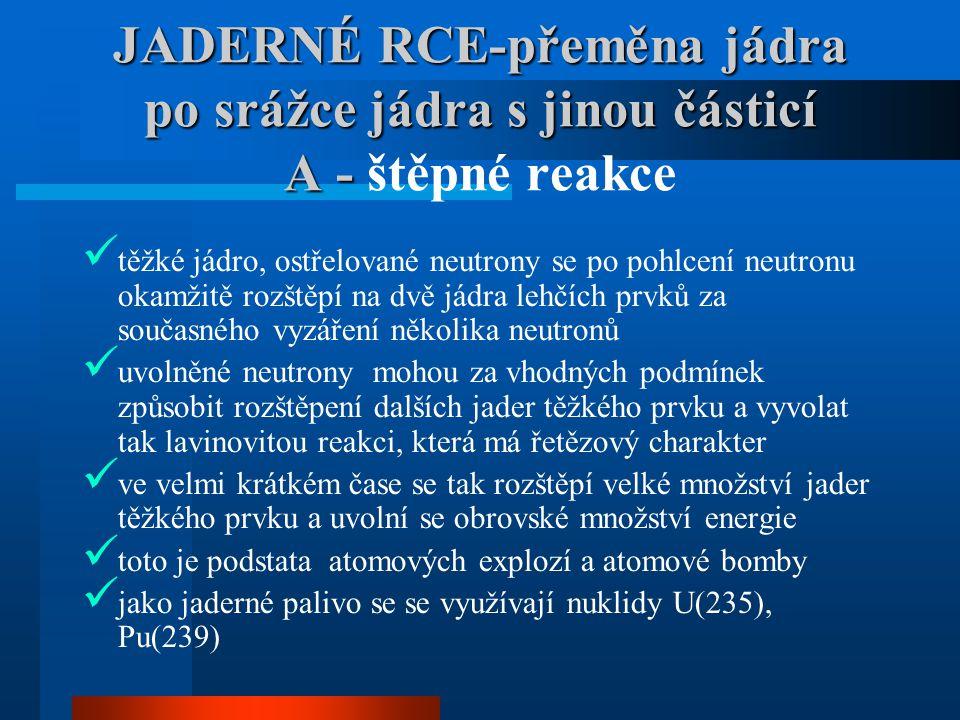 JADERNÉ RCE-přeměna jádra po srážce jádra s jinou částicí A - JADERNÉ RCE-přeměna jádra po srážce jádra s jinou částicí A - štěpné reakce  těžké jádr