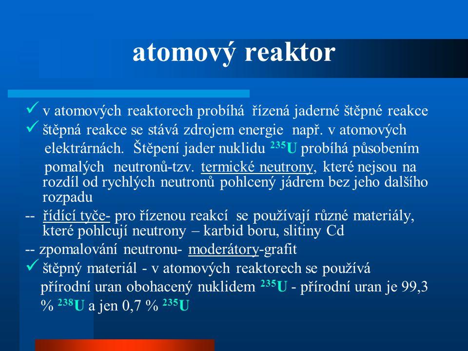 atomový reaktor  v atomových reaktorech probíhá řízená jaderné štěpné reakce  štěpná reakce se stává zdrojem energie např. v atomových elektrárnách.