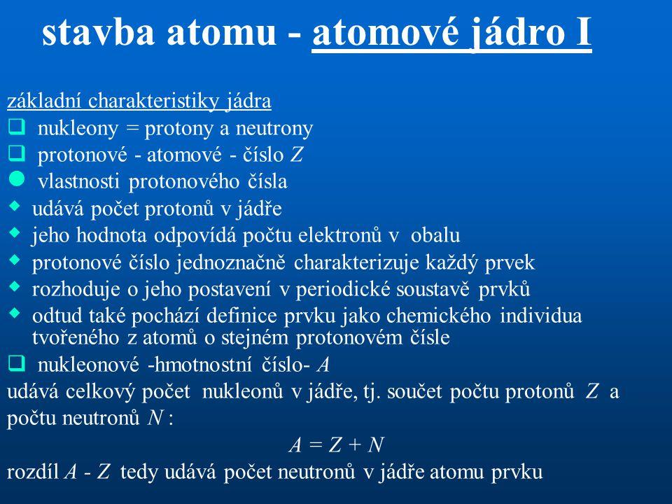 stavba atomu - atomové jádro I základní charakteristiky jádra  nukleony = protony a neutrony  protonové - atomové - číslo Z  vlastnosti protonového