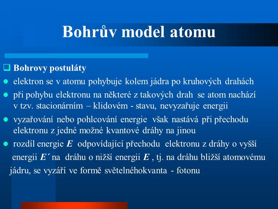 Bohrův model atomu  Bohrovy postuláty  elektron se v atomu pohybuje kolem jádra po kruhových drahách  při pohybu elektronu na některé z takových dr
