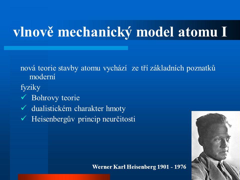 vlnově mechanický model atomu I nová teorie stavby atomu vychází ze tří základních poznatků moderní fyziky  Bohrovy teorie  dualistickém charakter h