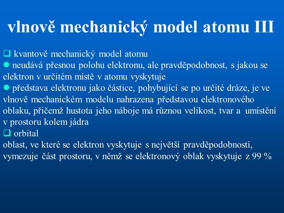  kvantově mechanický model atomu  neudává přesnou polohu elektronu, ale pravděpodobnost, s jakou se elektron v určitém místě v atomu vyskytuje  pře