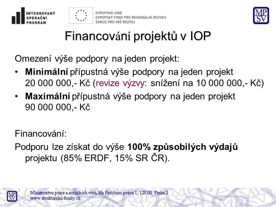 Financov á n í projektů v IOP Omezení výše podpory na jeden projekt: •Minimální přípustná výše podpory na jeden projekt 20 000 000,- Kč (revize výzvy: snížení na 10 000 000,- Kč) •Maximální přípustná výše podpory na jeden projekt 90 000 000,- Kč Financování: Podporu lze získat do výše 100% způsobilých výdajů projektu (85% ERDF, 15% SR ČR).