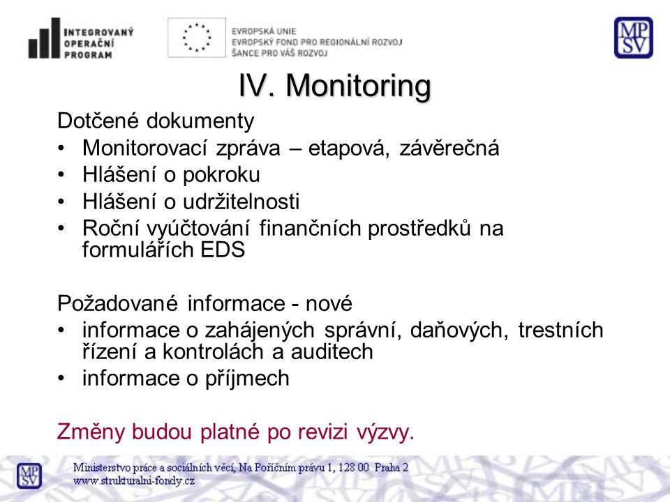 IV. Monitoring Dotčené dokumenty •Monitorovací zpráva – etapová, závěrečná •Hlášení o pokroku •Hlášení o udržitelnosti •Roční vyúčtování finančních pr