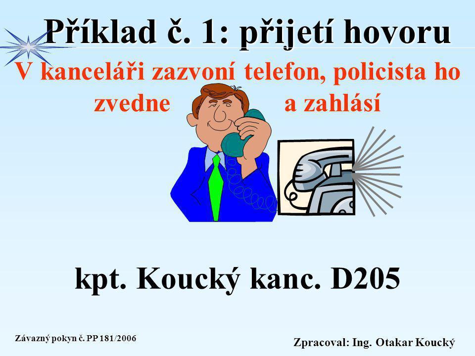 Zpracoval: Ing. Otakar Koucký ZÁSADY VOLÁNÍ VTS MV Přijetí hovoru Policista, který přijímá telefonní hovor oznámí volajícímu služebnu