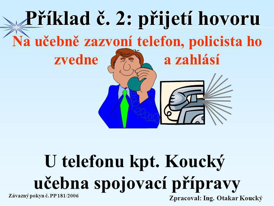 Zpracoval: Ing. Otakar Koucký Příklad č. 1: přijetí hovoru V kanceláři zazvoní telefon, policista ho zvedne a zahlásí kpt. Koucký kanc. D205 Závazný p
