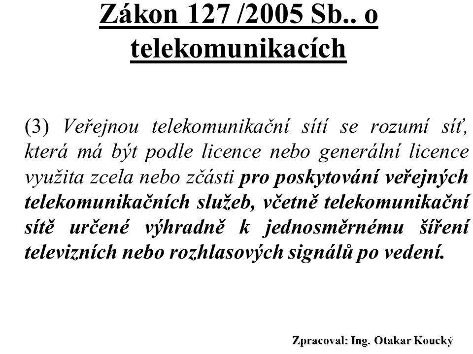 Zpracoval: Ing. Otakar Koucký Zákon 127 /2005 Sb.. o telekomunikacích § 2 (1) Telekomunikačním zařízením se rozumí technické zařízení, včetně vedení,