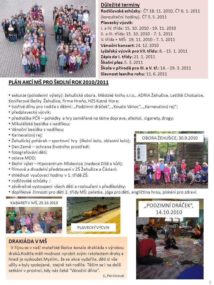 PLÁN AKCÍ MŠ PRO ŠKOLNÍ ROK 2010/2011 • exkurze (polodenní výlety): žehušická obora, Městské knihy s.r.o., ADRIA Žehušice. Letiště Chotusice, Konifero