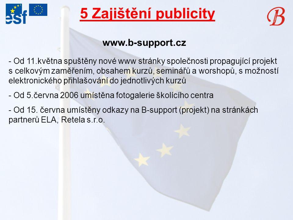 5 Zajištění publicity www.b-support.cz - Od 11.května spuštěny nové www stránky společnosti propagující projekt s celkovým zaměřením, obsahem kurzů, seminářů a worshopů, s možností elektronického přihlašování do jednotlivých kurzů - Od 5.června 2006 umístěna fotogalerie školícího centra - Od 15.