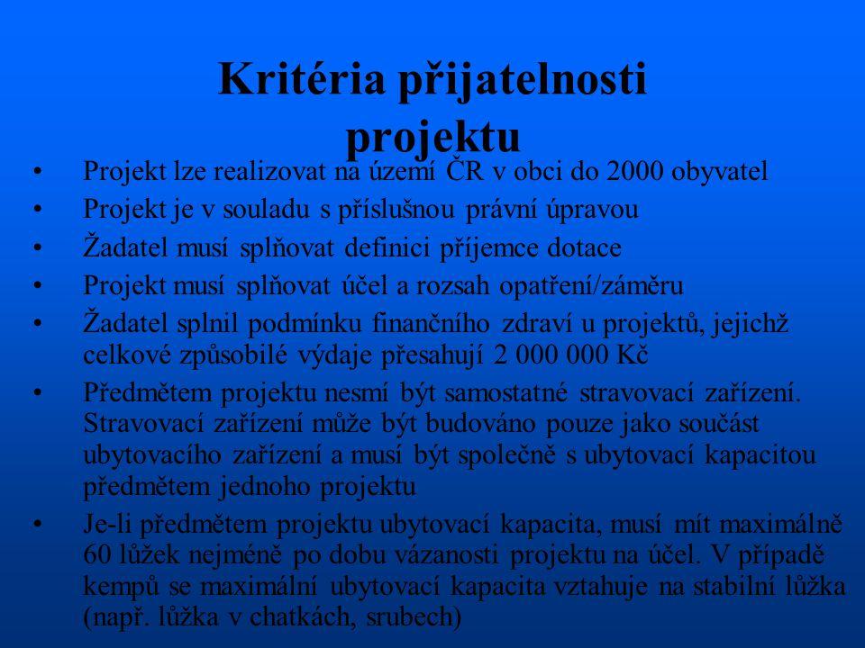 Kritéria přijatelnosti projektu •Projekt lze realizovat na území ČR v obci do 2000 obyvatel •Projekt je v souladu s příslušnou právní úpravou •Žadatel musí splňovat definici příjemce dotace •Projekt musí splňovat účel a rozsah opatření/záměru •Žadatel splnil podmínku finančního zdraví u projektů, jejichž celkové způsobilé výdaje přesahují 2 000 000 Kč •Předmětem projektu nesmí být samostatné stravovací zařízení.