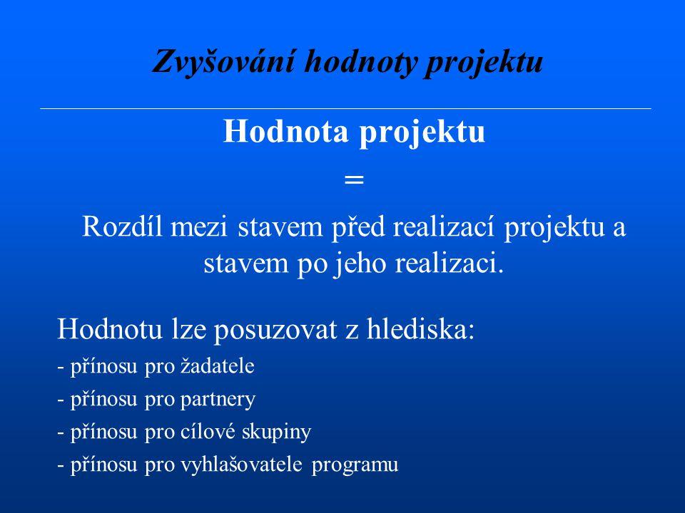 Hodnota projektu Hodnotu lze posuzovat v oblasti: - finanční - ekonomické - sociální - politické Zvyšování hodnoty projektu