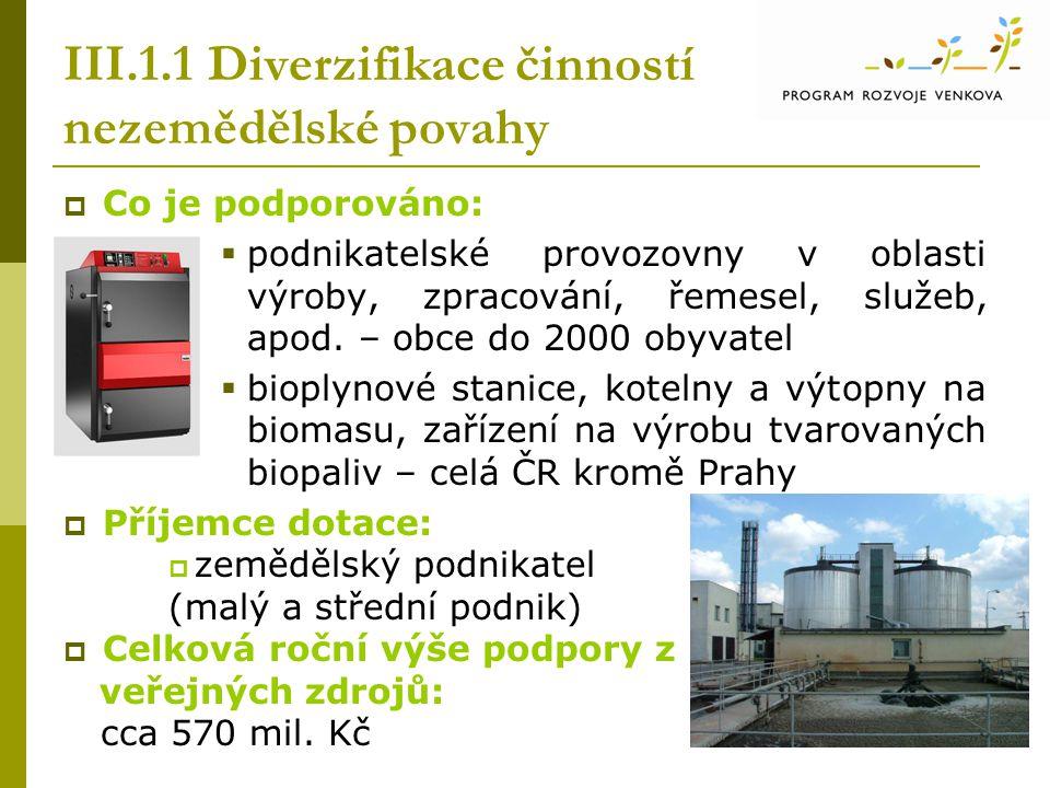 III.1.1 Diverzifikace činností nezemědělské povahy  Co je podporováno:  podnikatelské provozovny v oblasti výroby, zpracování, řemesel, služeb, apod