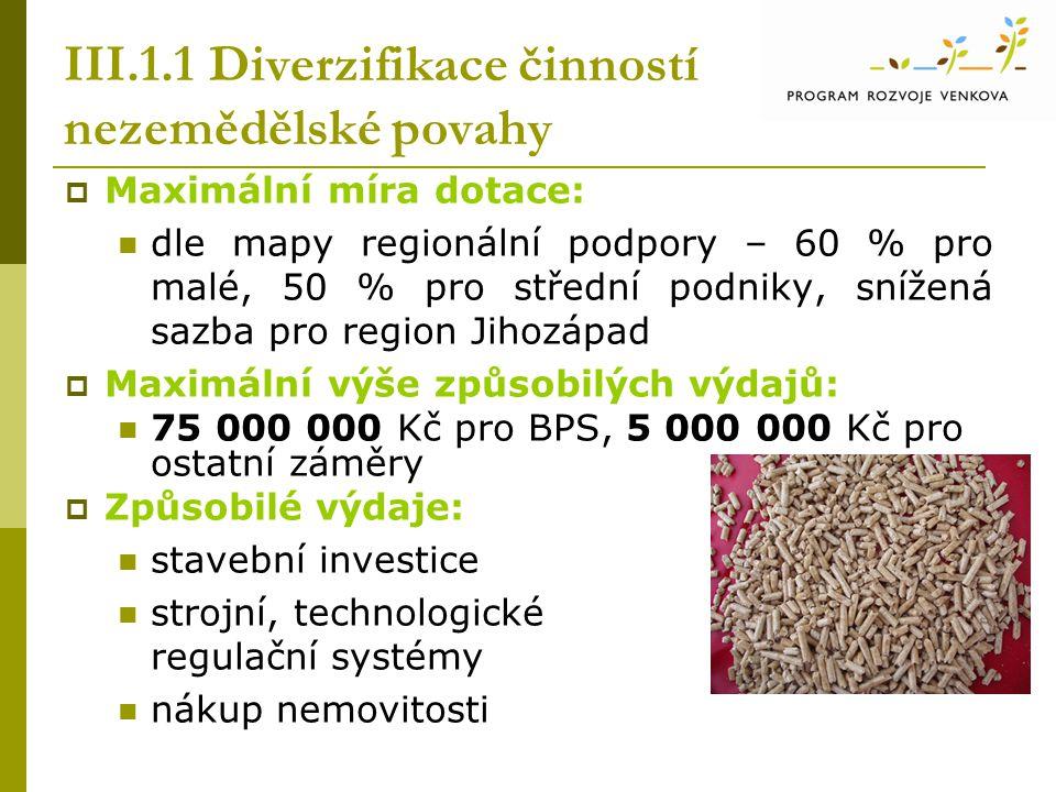 III.1.1 Diverzifikace činností nezemědělské povahy  Maximální míra dotace:  dle mapy regionální podpory – 60 % pro malé, 50 % pro střední podniky, s