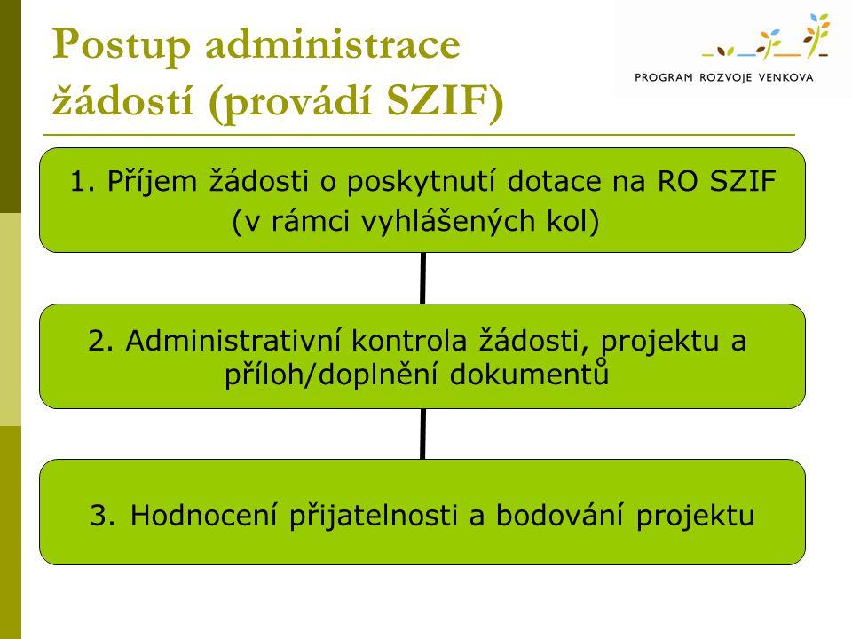 Postup administrace žádostí (provádí SZIF) 1. Příjem žádosti o poskytnutí dotace na RO SZIF (v rámci vyhlášených kol) 2. Administrativní kontrola žádo