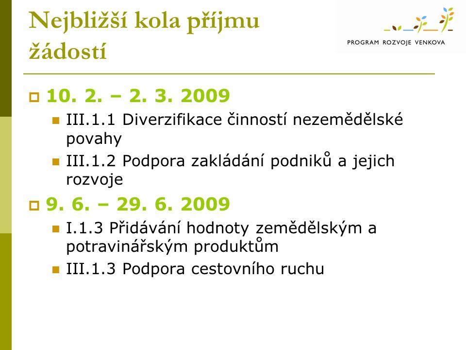Nejbližší kola příjmu žádostí  10. 2. – 2. 3. 2009  III.1.1 Diverzifikace činností nezemědělské povahy  III.1.2 Podpora zakládání podniků a jejich