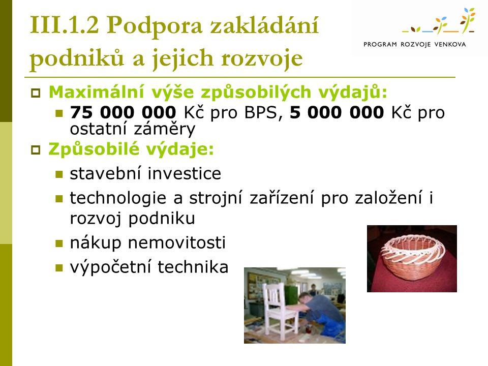 III.1.2 Podpora zakládání podniků a jejich rozvoje  Maximální výše způsobilých výdajů:  75 000 000 Kč pro BPS, 5 000 000 Kč pro ostatní záměry  Způ