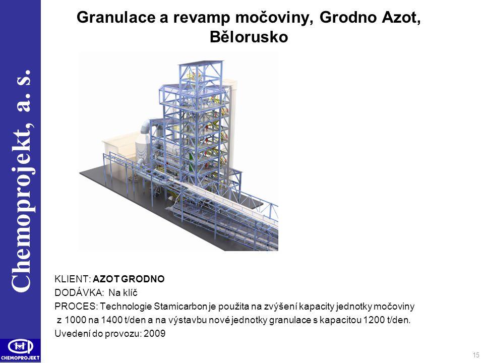 Chemoprojekt, a. s. 15 Granulace a revamp močoviny, Grodno Azot, Bělorusko KLIENT: AZOT GRODNO DODÁVKA: Na klíč PROCES: Technologie Stamicarbon je pou