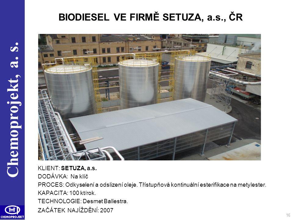 Chemoprojekt, a. s. 16 BIODIESEL VE FIRMĚ SETUZA, a.s., ČR KLIENT: SETUZA, a.s. DODÁVKA: Na klíč PROCES: Odkyselení a odslizení oleje. Třístupňová kon