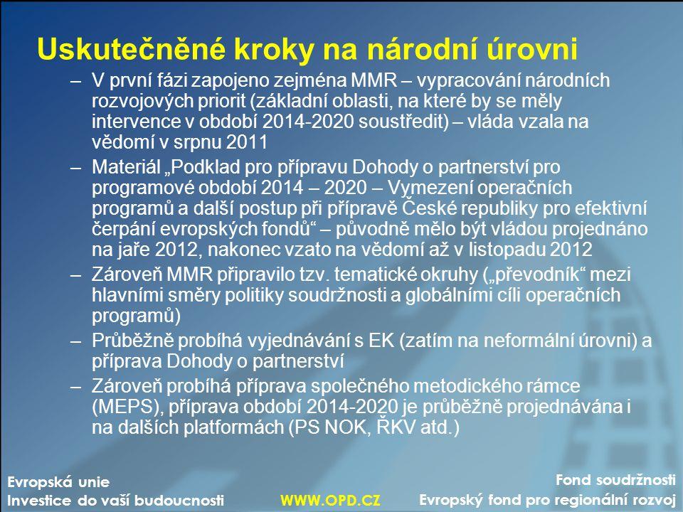 """Fond soudržnosti Evropský fond pro regionální rozvoj Evropská unie Investice do vaší budoucnosti WWW.OPD.CZ Uskutečněné kroky na národní úrovni –V první fázi zapojeno zejména MMR – vypracování národních rozvojových priorit (základní oblasti, na které by se měly intervence v období 2014-2020 soustředit) – vláda vzala na vědomí v srpnu 2011 –Materiál """"Podklad pro přípravu Dohody o partnerství pro programové období 2014 – 2020 – Vymezení operačních programů a další postup při přípravě České republiky pro efektivní čerpání evropských fondů – původně mělo být vládou projednáno na jaře 2012, nakonec vzato na vědomí až v listopadu 2012 –Zároveň MMR připravilo tzv."""