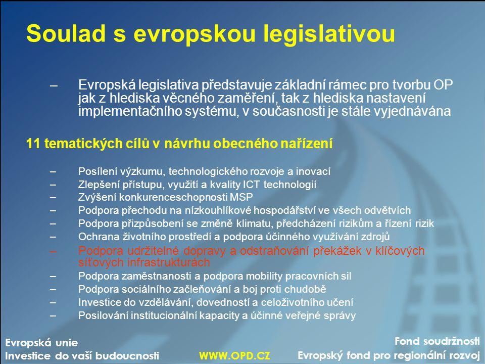 Fond soudržnosti Evropský fond pro regionální rozvoj Evropská unie Investice do vaší budoucnosti WWW.OPD.CZ Soulad s evropskou legislativou –Evropská legislativa představuje základní rámec pro tvorbu OP jak z hlediska věcného zaměření, tak z hlediska nastavení implementačního systému, v současnosti je stále vyjednávána 11 tematických cílů v návrhu obecného nařízení –Posílení výzkumu, technologického rozvoje a inovací –Zlepšení přístupu, využití a kvality ICT technologií –Zvýšení konkurenceschopnosti MSP –Podpora přechodu na nízkouhlíkové hospodářství ve všech odvětvích –Podpora přizpůsobení se změně klimatu, předcházení rizikům a řízení rizik –Ochrana životního prostředí a podpora účinného využívání zdrojů –Podpora udržitelné dopravy a odstraňování překážek v klíčových síťových infrastrukturách –Podpora zaměstnanosti a podpora mobility pracovních sil –Podpora sociálního začleňování a boj proti chudobě –Investice do vzdělávání, dovedností a celoživotního učení –Posilování institucionální kapacity a účinné veřejné správy