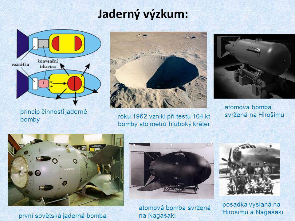 Jaderný výzkum: princip činnosti jaderné bomby roku 1962 vznikl při testu 104 kt bomby sto metrů hluboký kráter první sovětská jaderná bomba atomová bomba svržená na Nagasaki atomová bomba svržená na Hirošimu posádka vyslaná na Hirošimu a Nagasaki