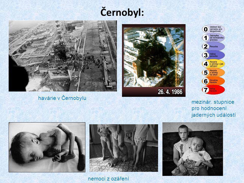 Černobyl: havárie v Černobylu nemoci z ozáření mezinár. stupnice pro hodnocení jaderných událostí
