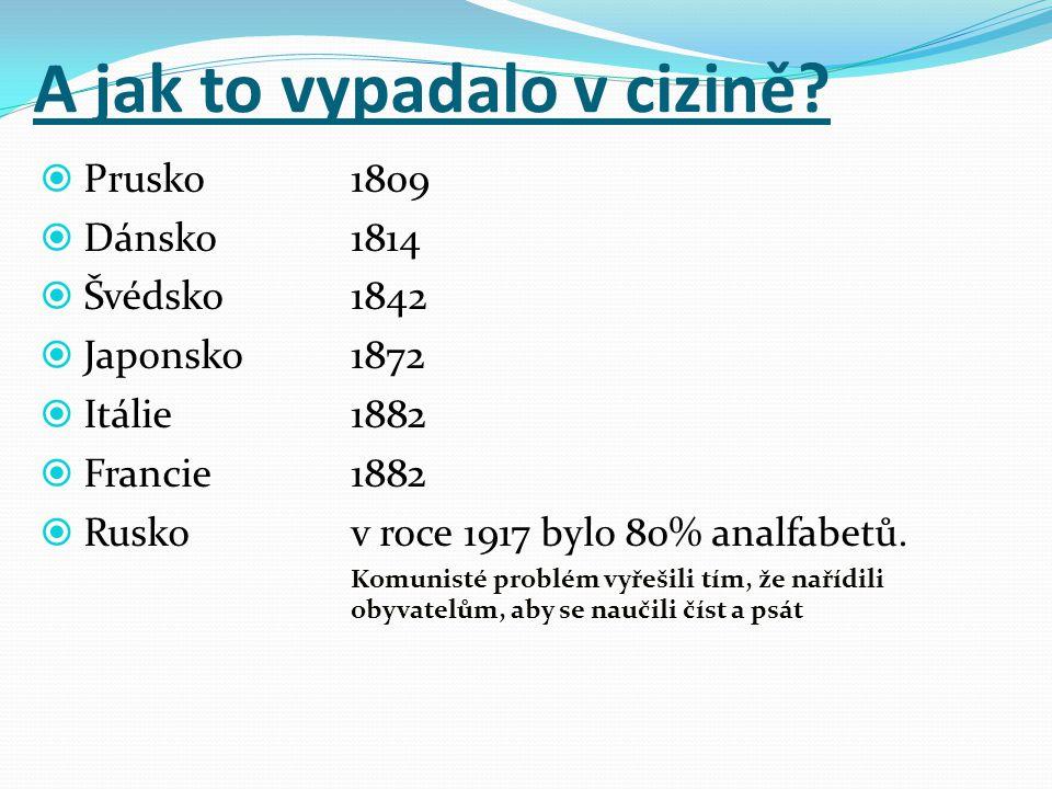 A jak to vypadalo v cizině?  Prusko1809  Dánsko1814  Švédsko1842  Japonsko1872  Itálie1882  Francie1882  Ruskov roce 1917 bylo 80% analfabetů.