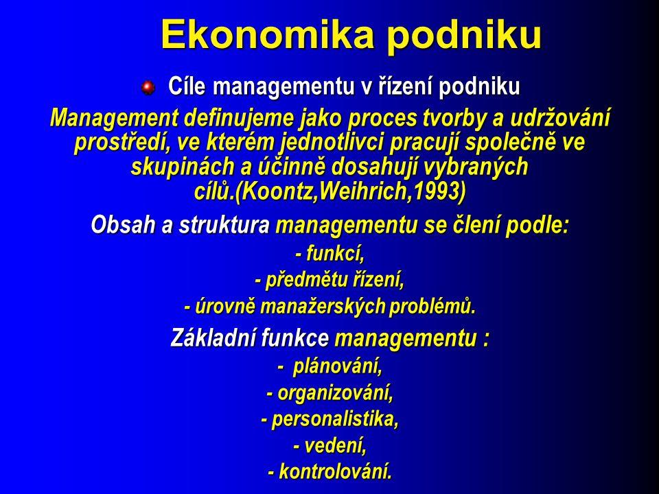Ekonomika podniku Cíle managementu v řízení podniku Cíle managementu v řízení podniku Management definujeme jako proces tvorby a udržování prostředí,