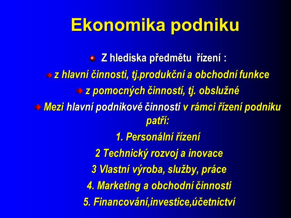 Ekonomika podniku Z hlediska předmětu řízení : Z hlediska předmětu řízení : z hlavní činnosti, tj.produkční a obchodní funkce z hlavní činnosti, tj.pr