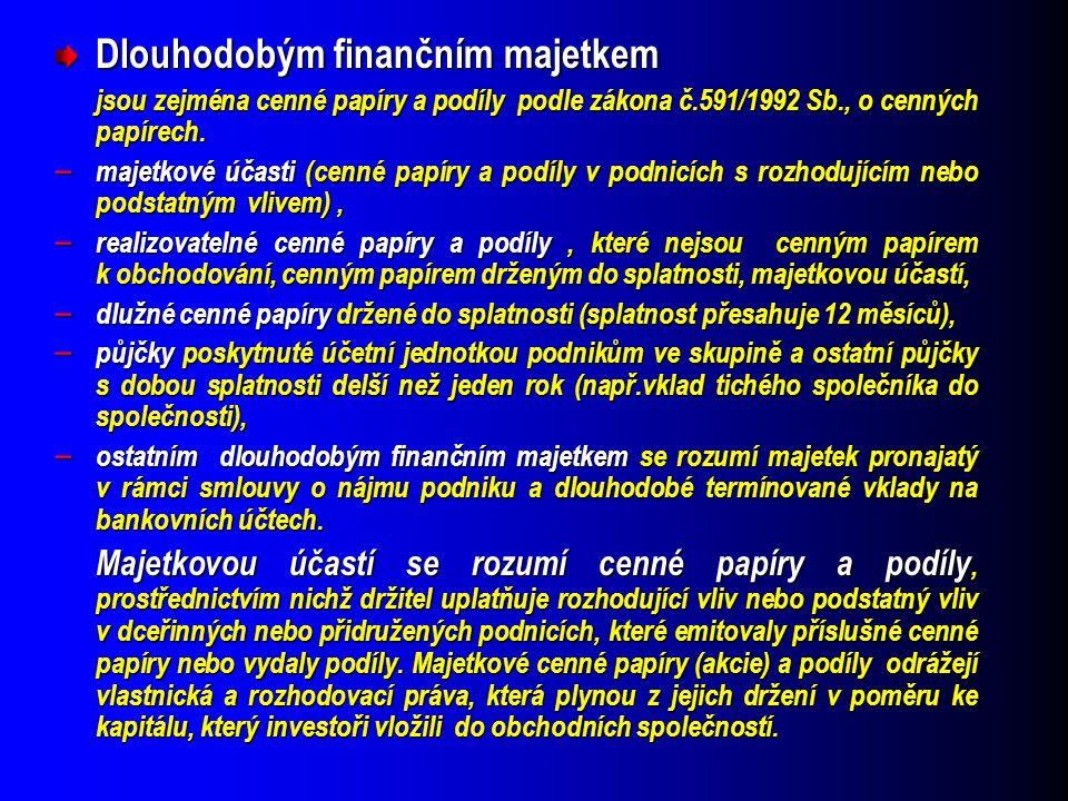 Dlouhodobým finančním majetkem jsou zejména cenné papíry a podíly podle zákona č.591/1992 Sb., o cenných papírech. jsou zejména cenné papíry a podíly
