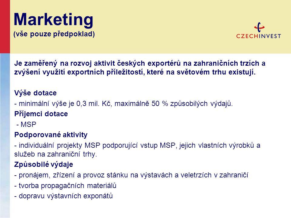 Marketing (vše pouze předpoklad) Je zaměřený na rozvoj aktivit českých exportérů na zahraničních trzích a zvýšení využití exportních příležitostí, které na světovém trhu existují.