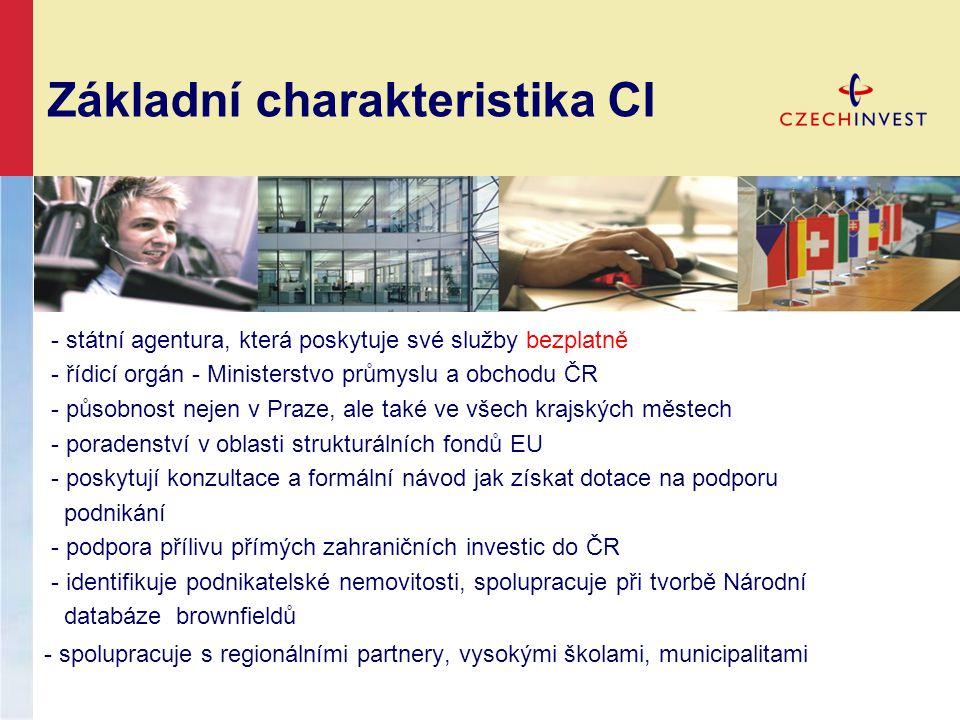 Základní charakteristika CI - státní agentura, která poskytuje své služby bezplatně - řídicí orgán - Ministerstvo průmyslu a obchodu ČR - působnost ne