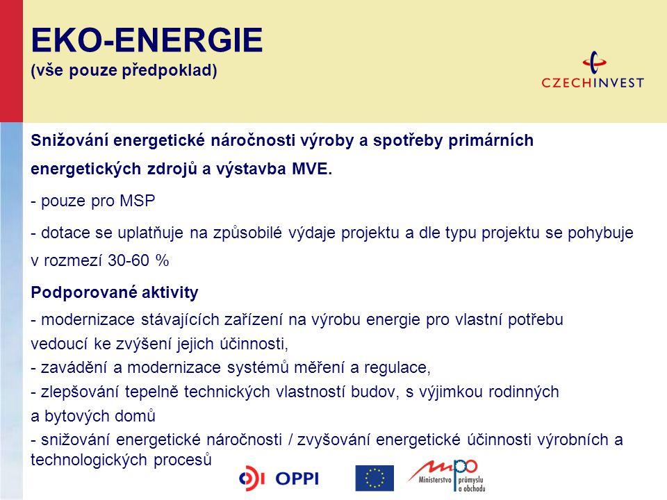 EKO-ENERGIE (vše pouze předpoklad) Snižování energetické náročnosti výroby a spotřeby primárních energetických zdrojů a výstavba MVE. - pouze pro MSP