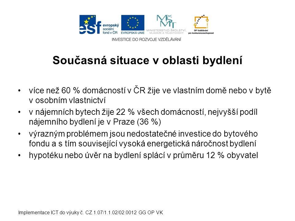 Současná situace v oblasti bydlení •více než 60 % domácností v ČR žije ve vlastním domě nebo v bytě v osobním vlastnictví •v nájemních bytech žije 22 % všech domácností, nejvyšší podíl nájemního bydlení je v Praze (36 %) •výrazným problémem jsou nedostatečné investice do bytového fondu a s tím související vysoká energetická náročnost bydlení •hypotéku nebo úvěr na bydlení splácí v průměru 12 % obyvatel Implementace ICT do výuky č.