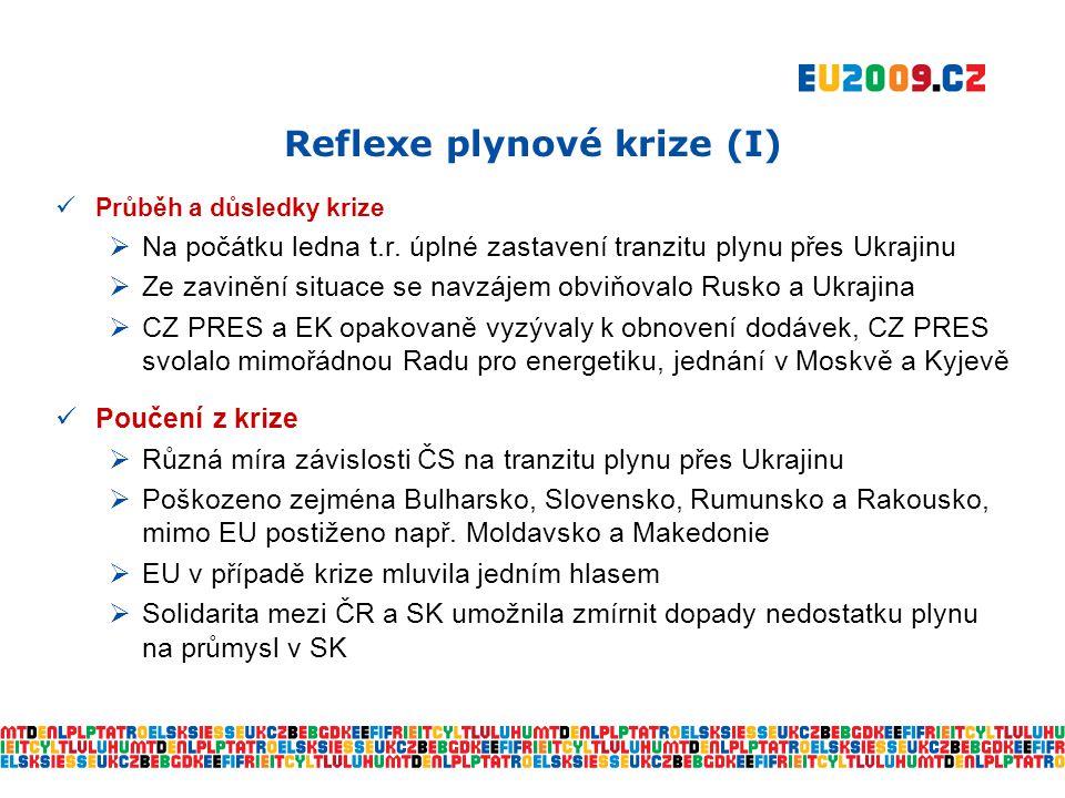 Reflexe plynové krize (I)  Průběh a důsledky krize  Na počátku ledna t.r.