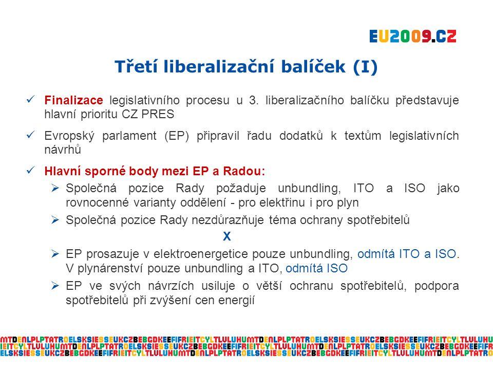 Třetí liberalizační balíček (II)  Další postup CZ PRES:  Nyní probíhá projednání dodatků EP v Radě  K vyřešení sporných bodů  5 – 6 trialogů s EP od 28.
